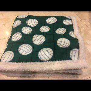 Fleece Green Volleyball Sherpa Blanket